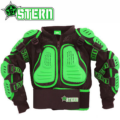 KIDS STERN MOTOCROSS BODY ARMOUR PROTECTION GREEN bionic suit jacket quad bike
