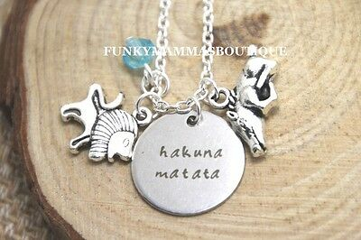 Hakuna Matata Themed Lion King Charms Pendant Necklace Simba Pumbaa 'no Worries'