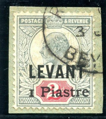 British Levant 1906 KEVII 1pi on 2d grey-green & carmine with cert VFU. SG 15.