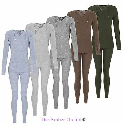 Womens Ladies Ribbed Tracksuit Jogging Tie Front Lounge Suit Loungewear