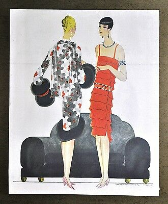 Annie Offterdinger Modezeichnung Fashion Illustration 30x42 Art Deco Paris 20er