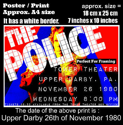 The Police live concert Upper Darby PA. 26th November 1980 A4 size poster print