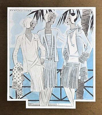 Annie Offterdinger Modezeichnung Fashion Illustration 30x42 Art Deco Dress 20er