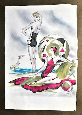 Annie Offterdinger Modezeichnung Fashion Illustration 30x42cm 1927 Art Deco 20er