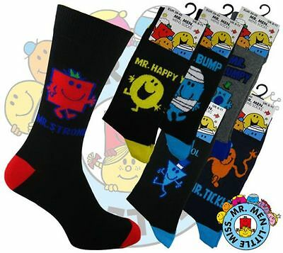 3 Pairs Men's Official Mr Men Cool,Grumpy, Happy, Perfect Strong Character Socks