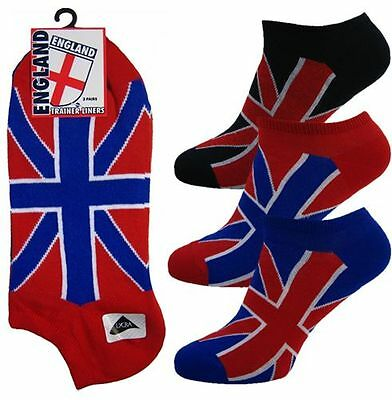 6 Pairs Of Mens England Union Jack Trainer Ankle Sport Socks With Union Jack