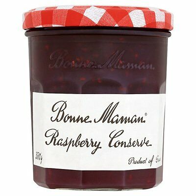 1 TRAY OF 15 x 30g BONNE MAMAN RASPBERRY CONSERVE JAM INDIVIDUAL GLASS JARS