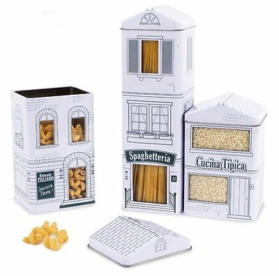3 x Balvi STORAGE Canisters FOOD VILLE Shops - Pasta SPAGHETTI Rice Tin Cereal