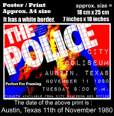 The Police live concert Austin Texas 11th of November 1980 A4 size poster print