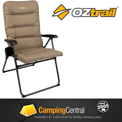 OZTRAIL COOLUM 5 POSITION Folding Padded Camping Picnic Arm Deck Pool Chair Camp