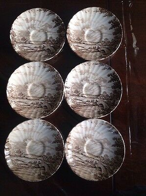 """hand engraved ridgway staffordshire england """"country days"""" saucers set of 6"""