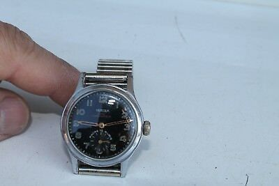 Antique Vintage Old Swiss Made Vermex Army 15Jewels Mens Wrist Watch.