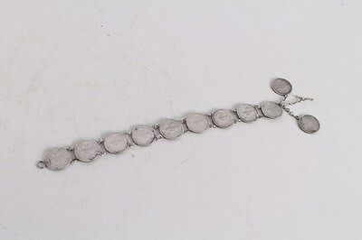 Antique Authentic Hand Made Charming Silver Coins Woman Chain Bracelet.