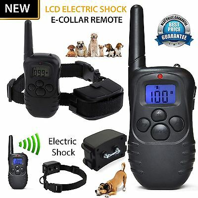 Rechargeable Electric E-Collar & Remote Pet Safe Dog Shock Training Collar Strap