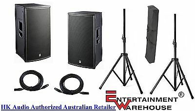 """HK Audio PL112FA - Pair 1000watt, 12"""" + Horn Powered Speakers + Stands + Cables"""