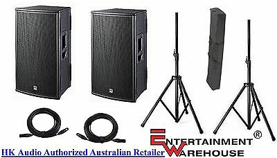 """HK Audio Pair PL 115FA - 1000watt, 15"""" + Horn Powered Speakers + Stands + Cables"""