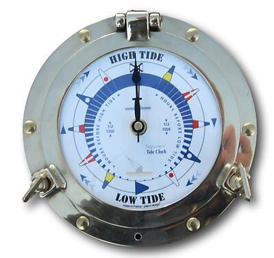 Traditional authentic porthole Tide Clock with hinged bezel, solid brass