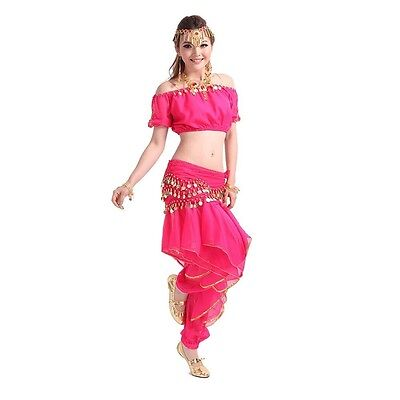 Belly Dance Costume Outfit Set Bra Top Belt Hip Scarf Bollywood Carnival Wear