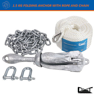 1.5 KG Foding Grapnel Anchor Kit 20M Marine Rope Chain Boat Kayak Canoe 10030