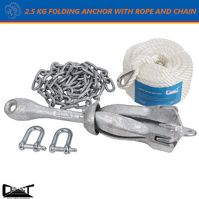 2.5 KG Foding Grapnel Anchor Kit 20M Marine Rope Chain Boat Kayak Canoe 10029