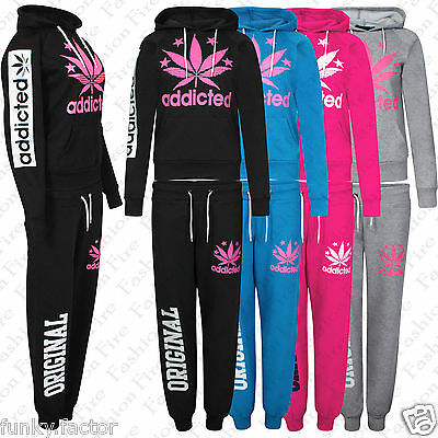 New Women's Ladies ADDICTED Jogging Bottoms Hooded Sweatshirt Track Suit UK 8-16