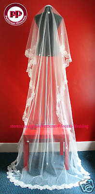 One Tier Ivory Cathedral Chapel Wedding Bridal Veil 3M