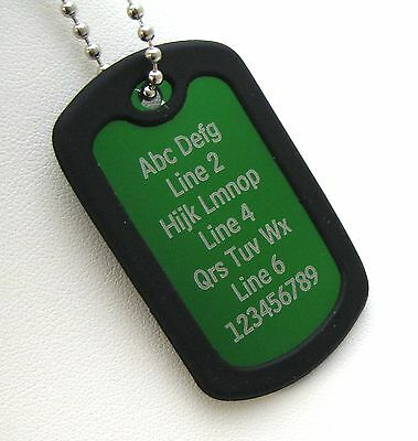 1 PERSONALIZED Dog Tag Necklace Horizontal Wording - GREEN with Black Silencer