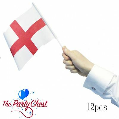 England St Georges Cross Flag 12 HAND WAVING FLAGS ON STICKS 992704