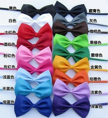 Pet Puppy Dog Cat Fashion Bow Tie Necktie Adjustable Collars Pure Color