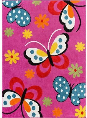 Pink Girls 3x5 Area Rug NEW Large Teen Floral Butterfly Bedroom Rugs Home Decor