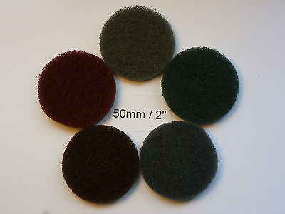 """Non-woven Abrasive Discs Hook and Loop Backed 2"""" / 50mm Mixed Grit Pack of 10"""