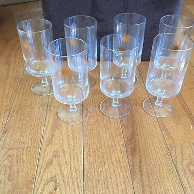 Vintage Set of 7 Starburst Stem Glasses Retro