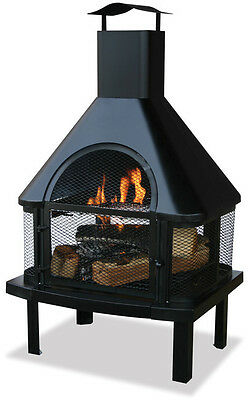 UniFlame Black Outdoor Firehouse with Chimney