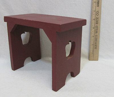 Wood Doll Bench Table Wooden Stool Furniture Red Apple Cut Out Country Accent