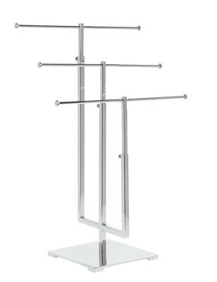 Modern Metal Polished ChromeTriple T Bar T Stand Necklace/Bracelet Display Stand