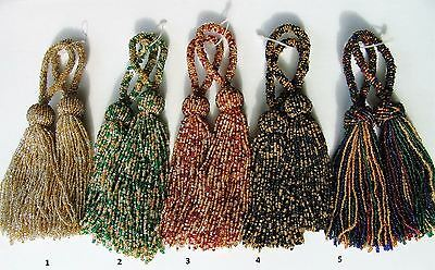 """SET OF TWO 9 1//2/"""" Glass Beaded Key Tassels ~ CHOICE of FOUR COLORS"""