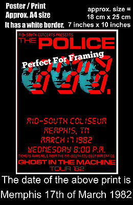 The Police live concert at Memphis USA 17th of March 1982 A4 size poster print