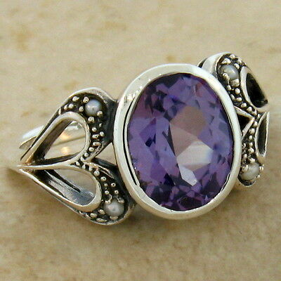 Color Changing Lab Alexandrite & Pearl Antique Design 925 Silver Ring Sz 5,#503