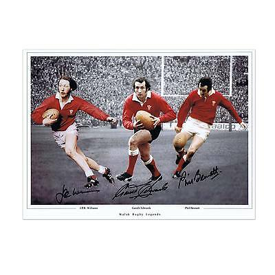 Gareth Edwards JPR Williams Phil Bennett Photo Signed Rugby Collectable Sport