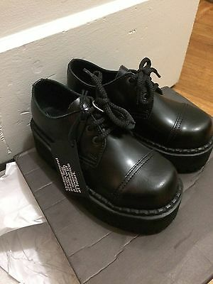 underground creepers steel caps 3 eyelet triple sole shoe black leather size 3