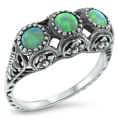 Green Lab Fire Opal Antique Victorian Style .925 Silver Ring Size 6.75,     #415