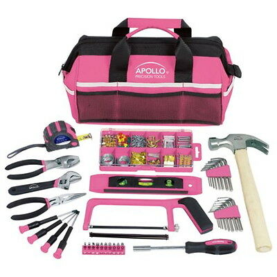 Pink Color Apollo Precision Tools 201 Piece Household Tool Kit For Ladies