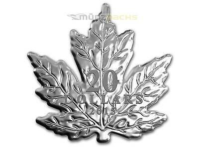 20 $ Dollar Maple Leaf Shape Shaped Kanada Canada 2015 PP 1 oz Unze Silber