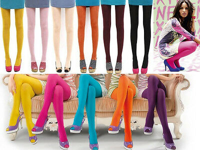 Color Sexy Women's Opaque Footed Tights Slim Elastic Pantyhose Stocking Socks