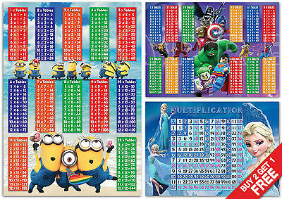 Lego Frozen Minions - Maths KIDS Bedroom MULTIPLY Times Tables WALL POSTER Elsa