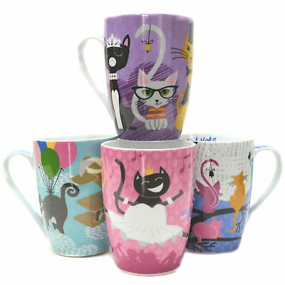 Coffee Mug Mugs Cats Cat Kitty Kitten Mothers Day Tea Cup Ceramic Set of 4 3044