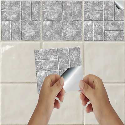 "Brick Effect Mosaic Tile Sticker Decal Kitchen Bathroom 6"" Tile Transfer TP18"