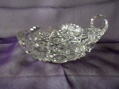 Vintage Crystal Nappy candy/nut dish Daisy pattern saw tooth top edge VGC