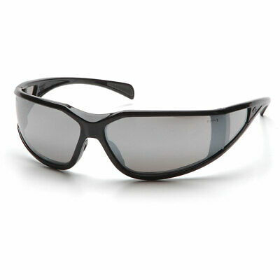 Pyramex Exeter Glossy Black Frame Safety Glasses w/ Anti-Fog Silver Mirror Lens