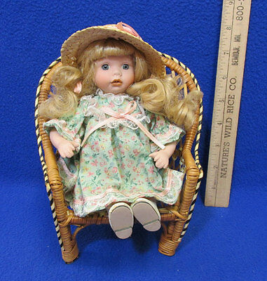 Vintage Porcelain Doll In Wicker Chair Small Blond For Display Purposes Only